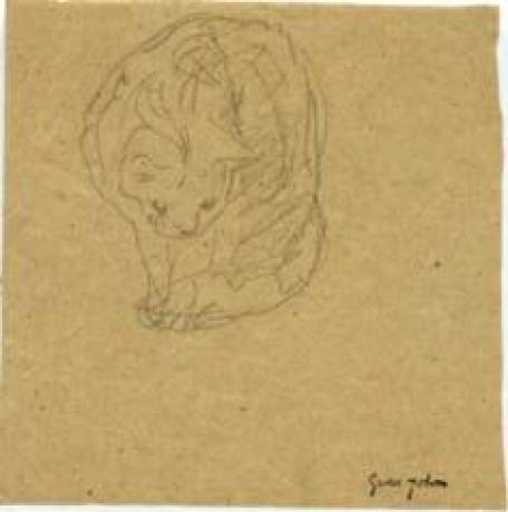 Cat Staring at Ground Gwen John Pencil on Paper 1905-08 Private Collection