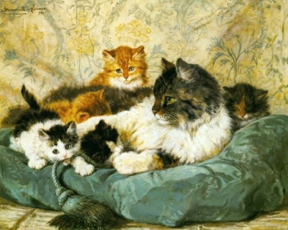A Cat and Her Kittens Henriette Ronner-Knip Private Collection
