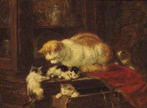 Cat and Kittens Henriette Ronner-Knip Oil on Paper Private Collection