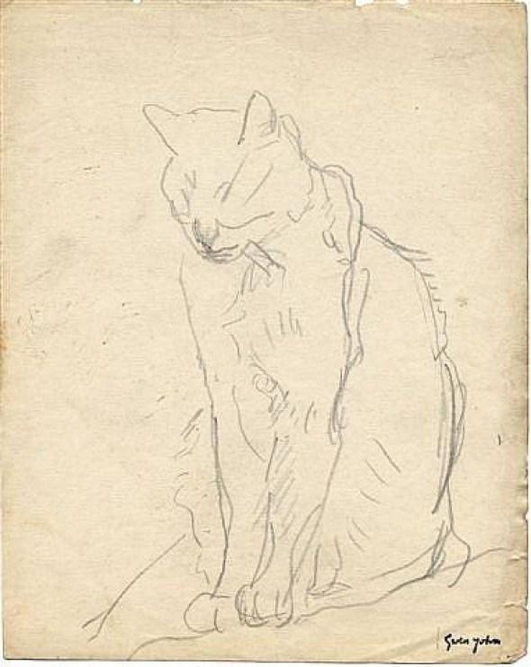Cat Sitting with Eyes Closed Gwen John Sketch