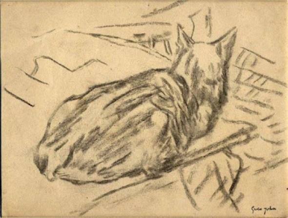 Black Cat Sitting in a Wick Gwen John