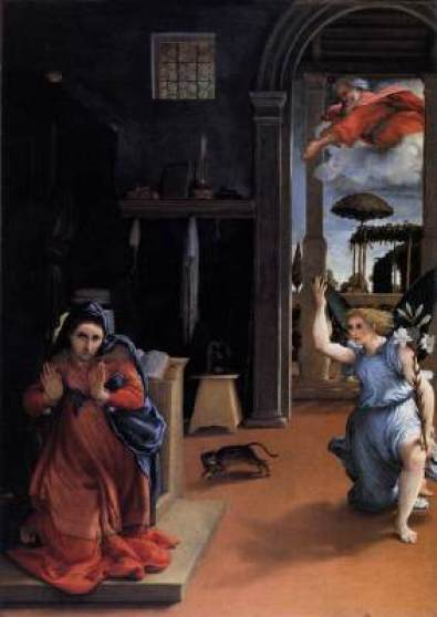 Annunciation Lorenzo Lotto 1527, cat in Mannerist and religious paintings