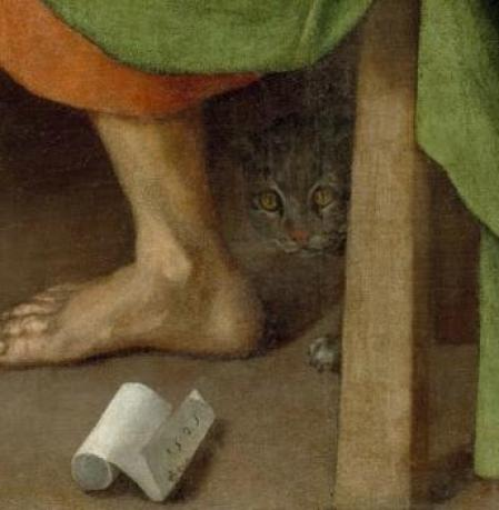 Supper at Emmaus Detail of Cat Pontormo 1525, cat in Mannerist and religious paintings