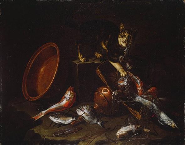 Cat Stealing Fish Guiseppe Recco Metropolitan Museum of Art, New York, cats in art
