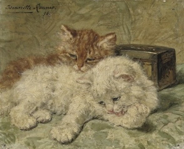 Ginger and White Cats Henriette Ronner-Knip Oil on Panel Private Collection