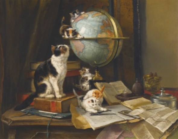 The Globetrotters Henriette Ronner-Knip Oil on Canvas Private Collection