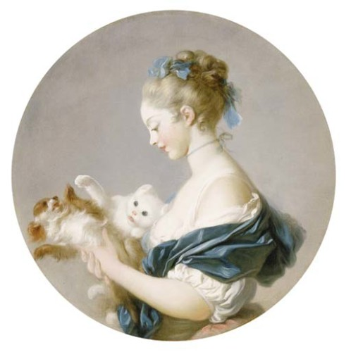 Girl Playing with a Dog and Cat (said to be Portrait of Marie Madeleine Colombe Jean-Honoré Fragonard , cats in art