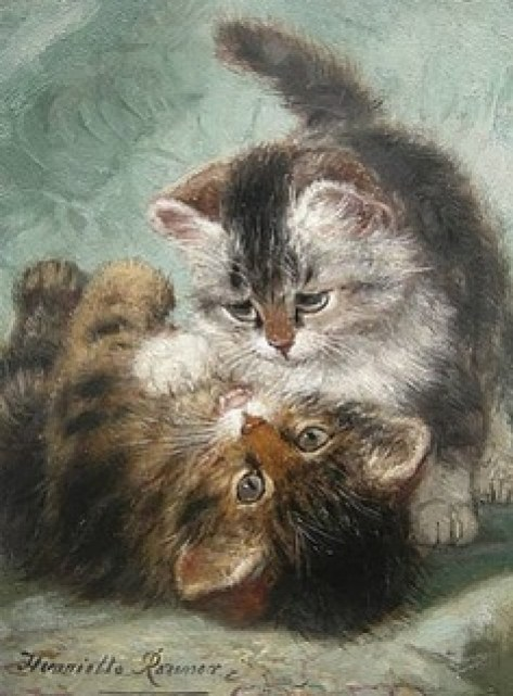Kittens Playing Henriette Ronner-Knip Private Collection