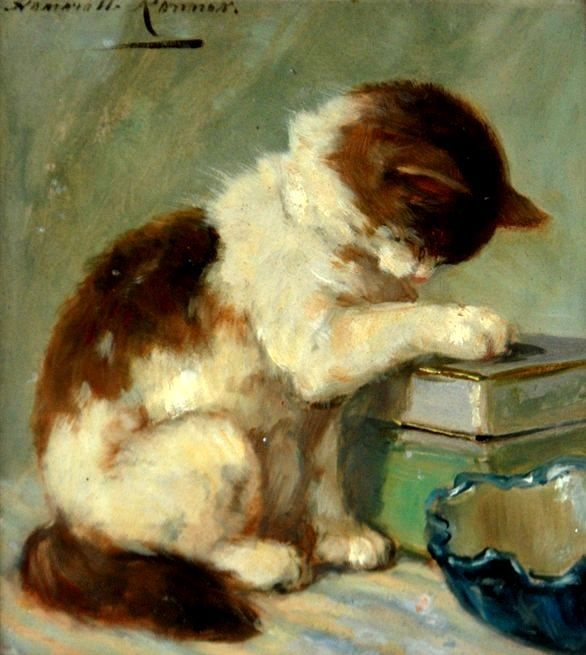 Kitty Washing Paw Henriette Ronner-Knip 1880 Private Collection