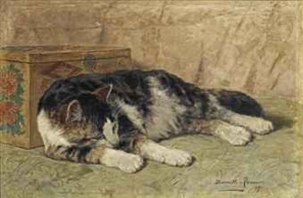 La Siesta Henriette Ronner-Knip Oil on canvas laid on panel 1899 Private Collection