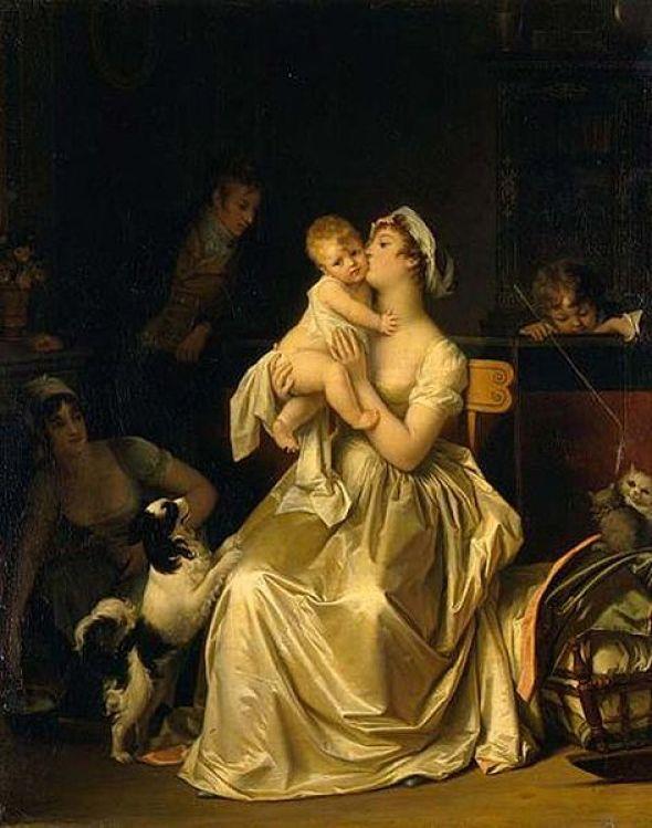 Mutterschaft Marguerite_Gérard1795-1800 Oil on Canvas 51x61cm Pushkin Museum, Russia cats in art