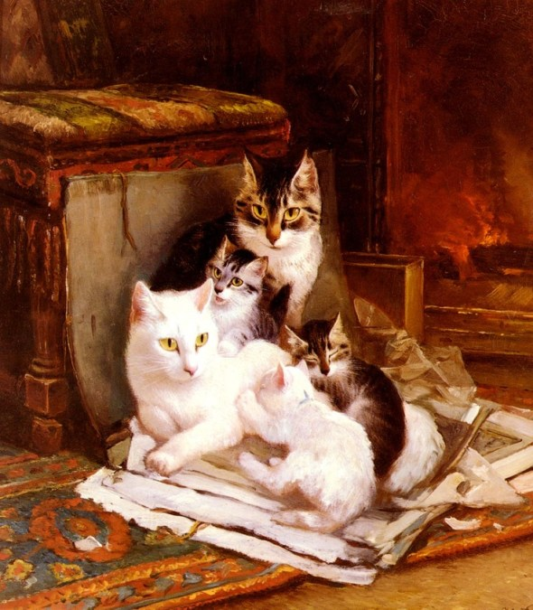 The Happy Litter Henriette Ronner-Knip Oil on Panel Private Collection