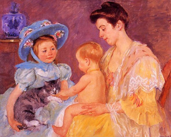 Children Playing with a Cat Mary Cassatt Oil on Canvas 1908 Private Collection