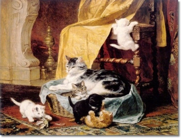 A Proud Mother Henriette Ronner-Knip Private Collection