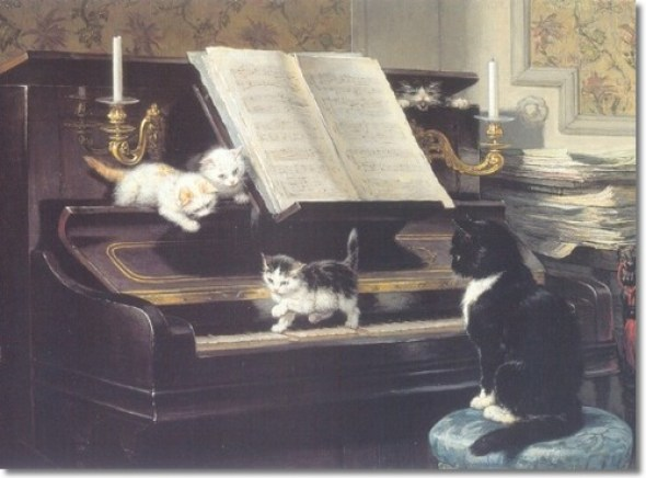 The Piano Lesson with Cat and Kittens Henriette Ronner-Knip Private Collection