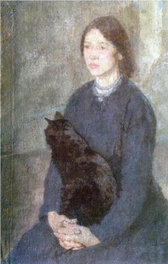 Young Woman Holding a Black Cat Gwen John 1920 cats in art