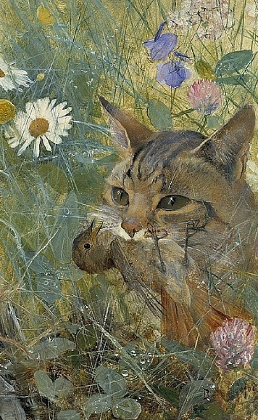 Cat with Bird in its Mouth Bruno Liljefors 1885 Private Collection cats in art