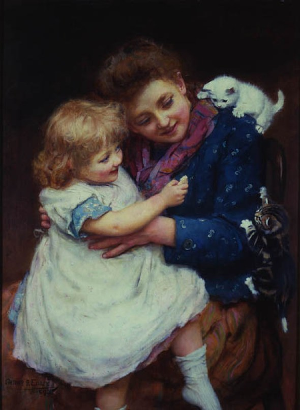 Playtime Arthur John Elsley 1893 Private Collection cat in paintings