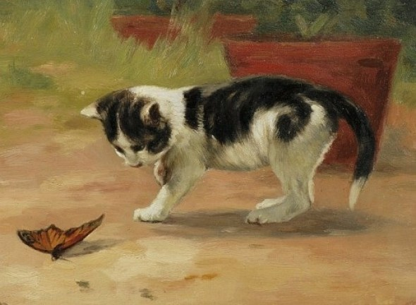 An Easy Target Oil on Canvas John Henry Dolph American cats in art