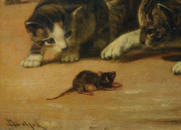 Cat and Mouse Detail John Henry Dolph Private Collection