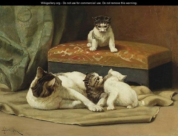 Mother Cat with her Kittens John Henry Dolph Private Collection