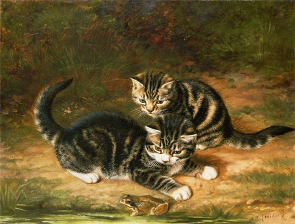 Two Kittens Playing Horatio Henry Couldrey Private Collection cats in art