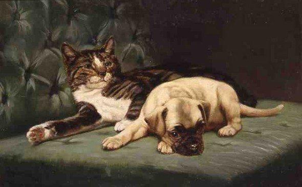 Repose John Henry Dolph Private Collection cat paintings