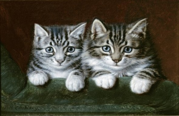 Two Tabby Kittens Horatio Henry Couldery Private Collection