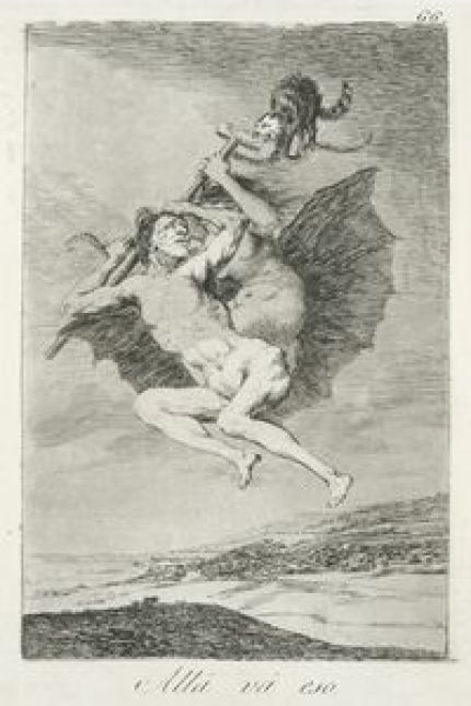 Alla Va Eso Etching 1797-1798 Francisco Goya New York Public Library, cats in art