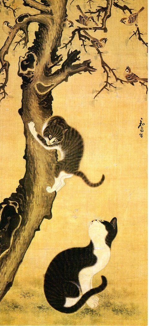 Cats and Sparrows 18th Century Byeon Sangbyeok Myojakdo cats in korean art, Byeon Sang-byeok