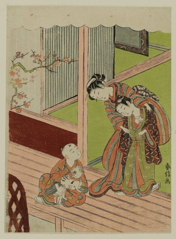 Children with a Cat and Mouse Suzuki Harunobu Museum of Fine Arts, Boston, cats in asian art