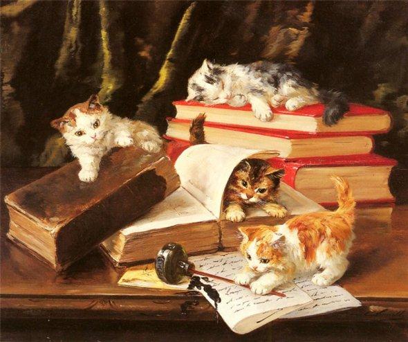 Kittens Playing on a Desk Brunel de Neuville