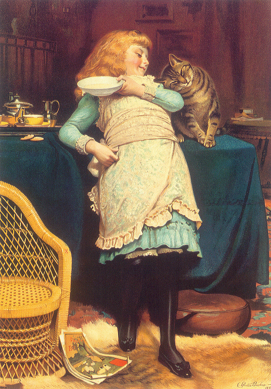 Coaxing is Better Than Teasing 1883 victorian cat paintings