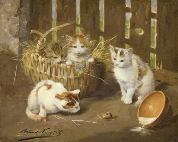Four Kittens, Spilled Milk and a Snail cats in art