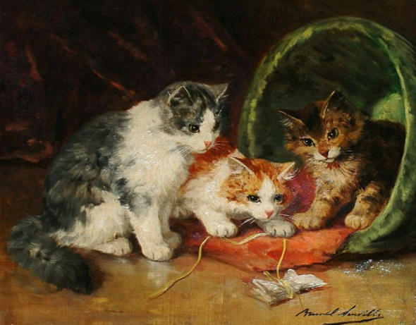 Three Kittens Playing with a Toy - Brunel de Neuville