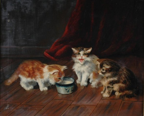 Three Kittens and a Cup of Milk Brunel de Neuville