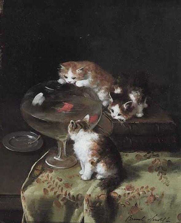 Three Kittens around a Goldfish Bowl Brunel de Neuville