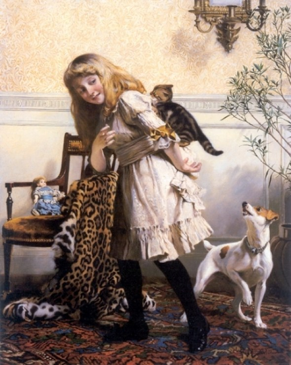 Any Port in a Storm Charles Burton Barber kittens in art