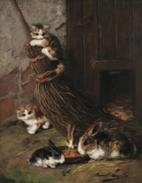Kittens Playing with Rabbits kittens in art