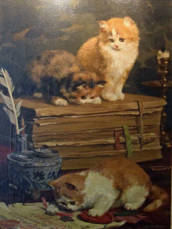Kittens in the Office, Charles Van den Eycken