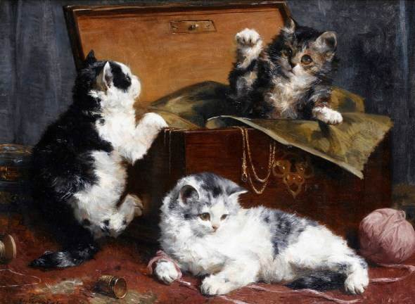 In the Sewing Box , Charles Van den Eycken Private Collection Victorian cats in art