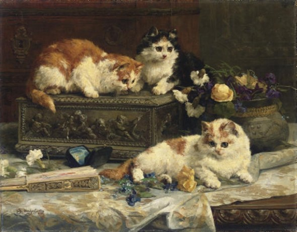 In the Boudoir , Charles Van den Eycken Private Collection victorian cats