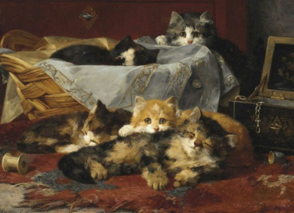 Kittens Resting After Play, Charles Van den Eycken Private Collection