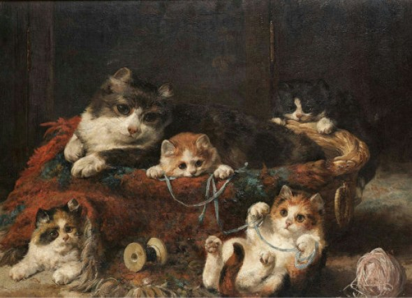 Mother and Kittens with String, Charles Van den Eycken Private Collection