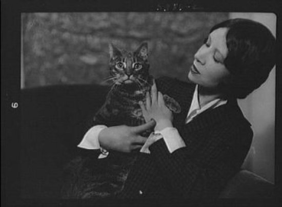 Miss Cumner with Buzzer the Cat