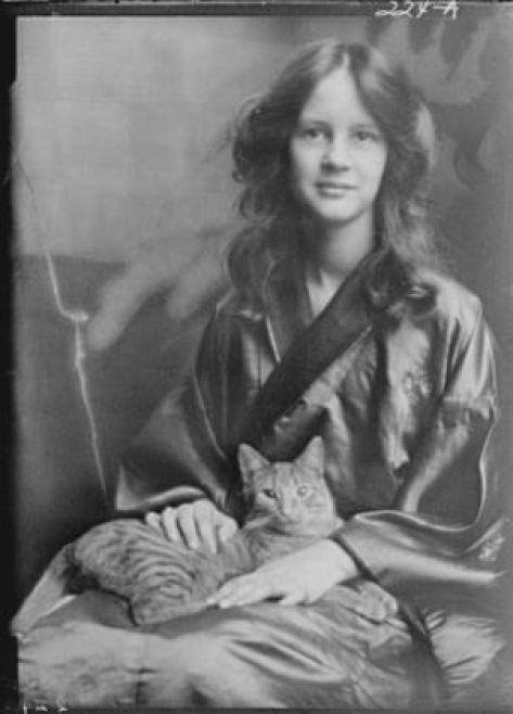 Jocelyn Stebbins (Mrs. Fletcher) with Buzzer the Cat