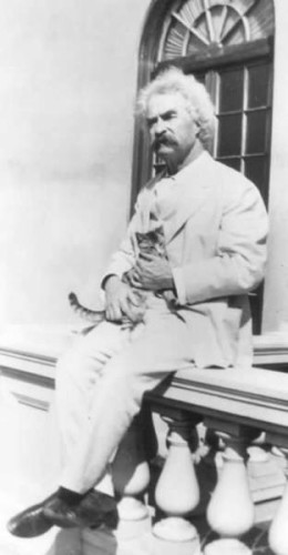 Mark Twain Sitting with a Kitten cats and writers