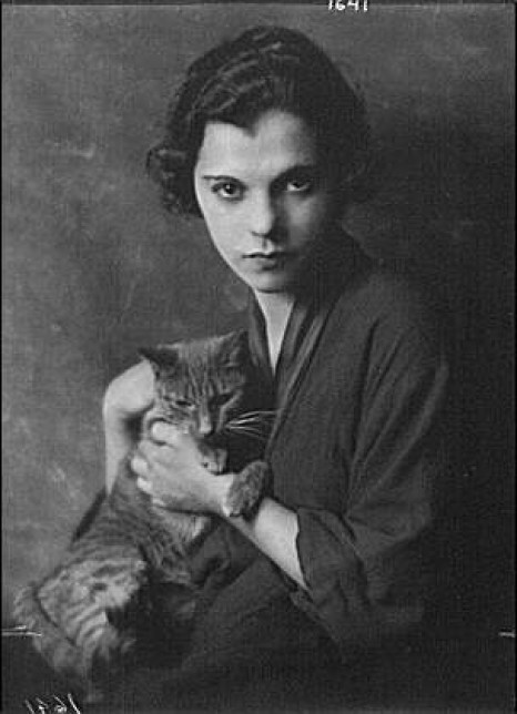 Miss Blanche Gervais with Buzzer the Cat