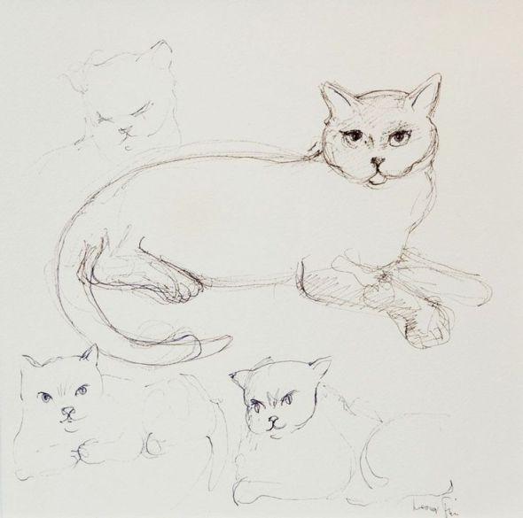 Cats Ink Drawing 1988 Leonor Fini