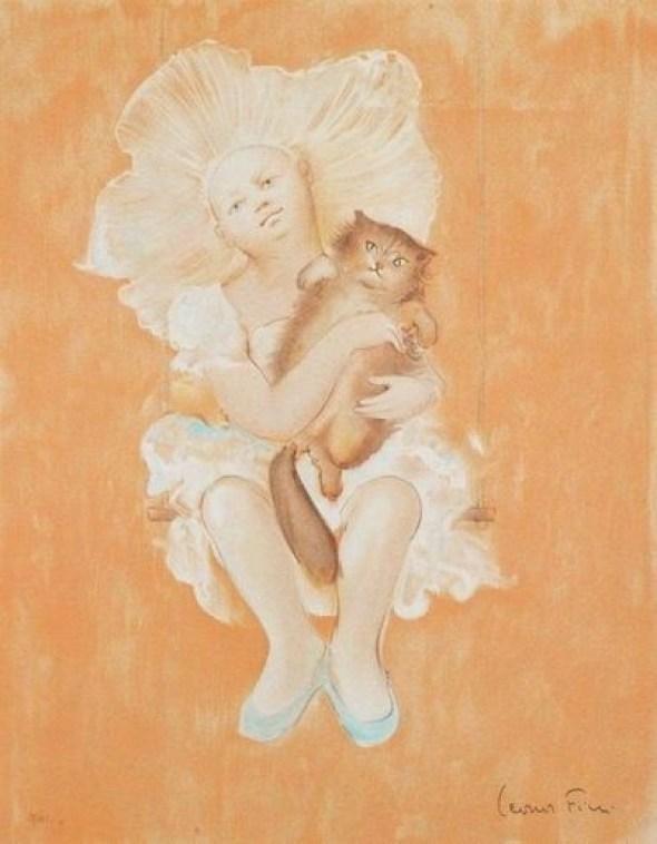 Leonor Fini Jeune Femme au chat (Young Lady with a Cat)